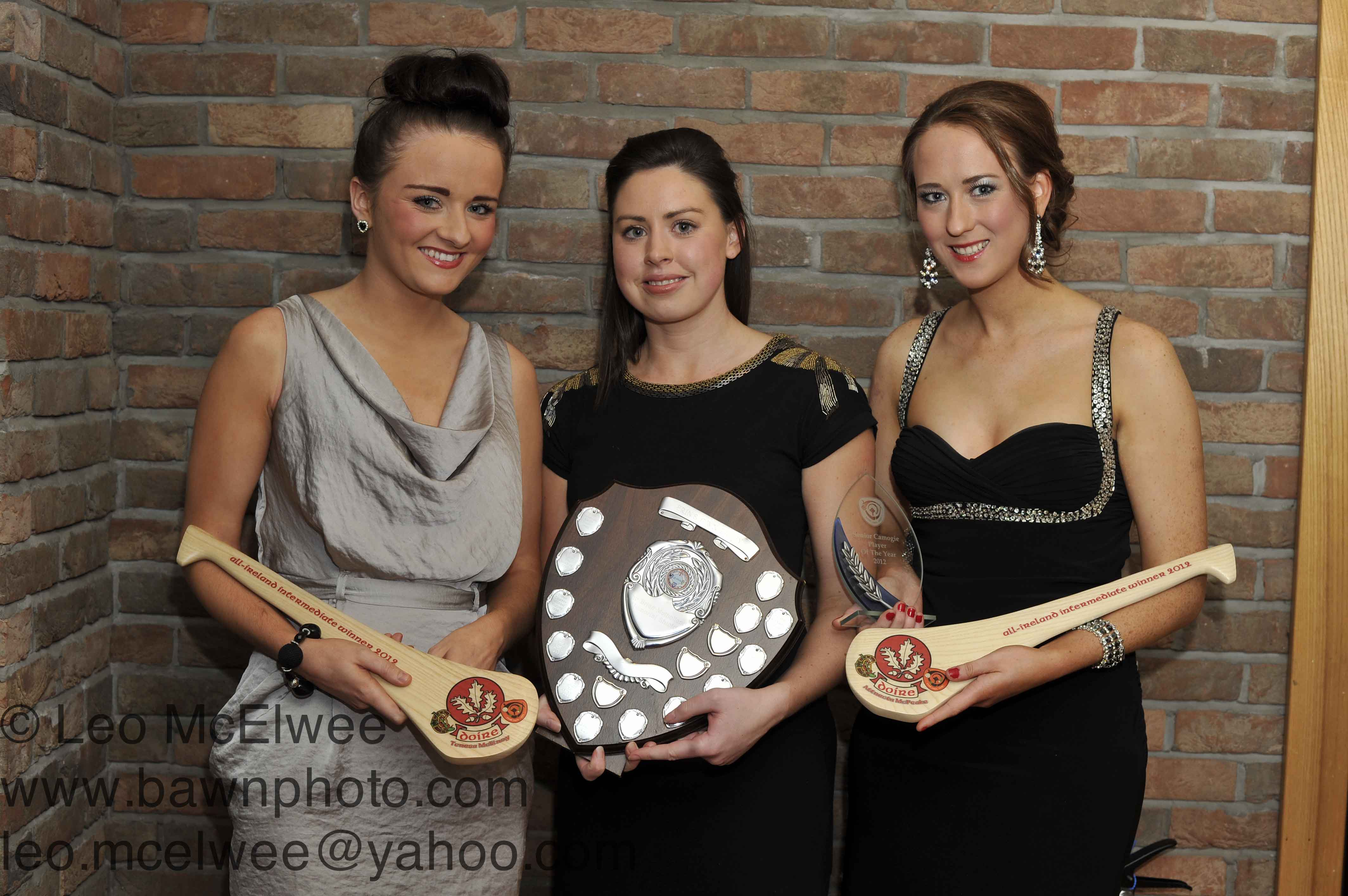 Lavey Camogs;  Teresa McElroy (left) and Attracta McPeake (right) were presented with an award to celebrate their All Ireland success while Attracta was also presented with the Camogie Player of the Year award.  Edelle Henry (centre) was presented with Club Person of the Year.