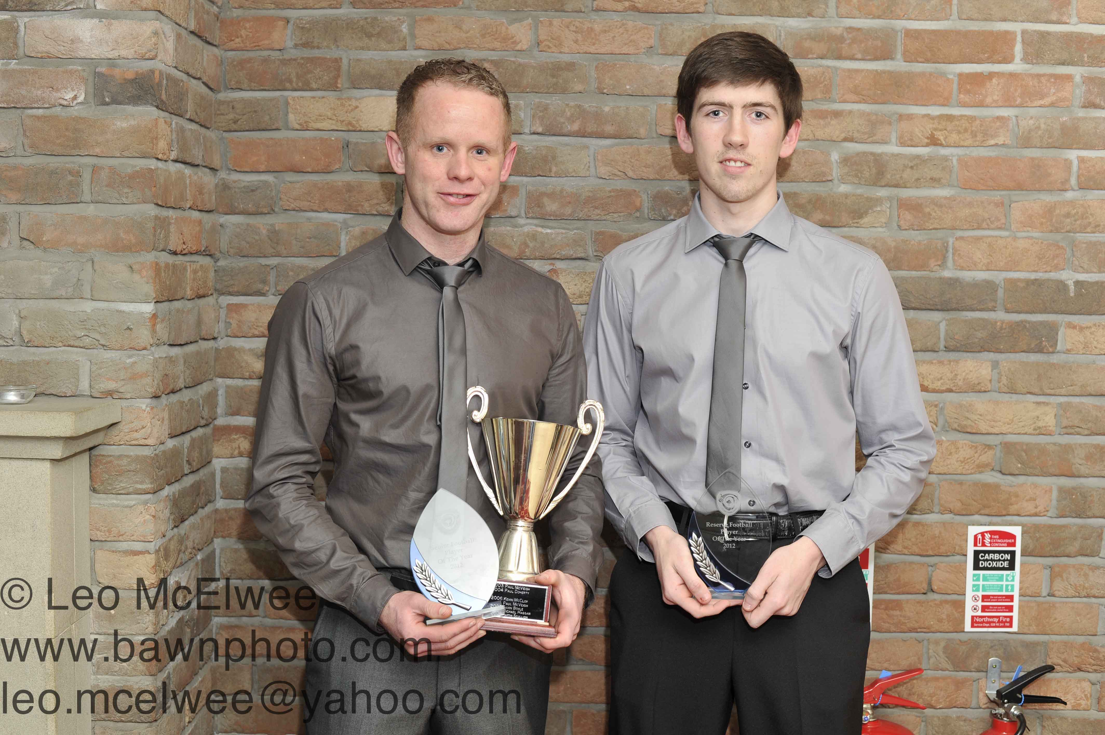 Joe Duggan (left) was presented with the Senior Footballer of the Year award, while Caelin McGurk was presented with Reserve Player of the Year