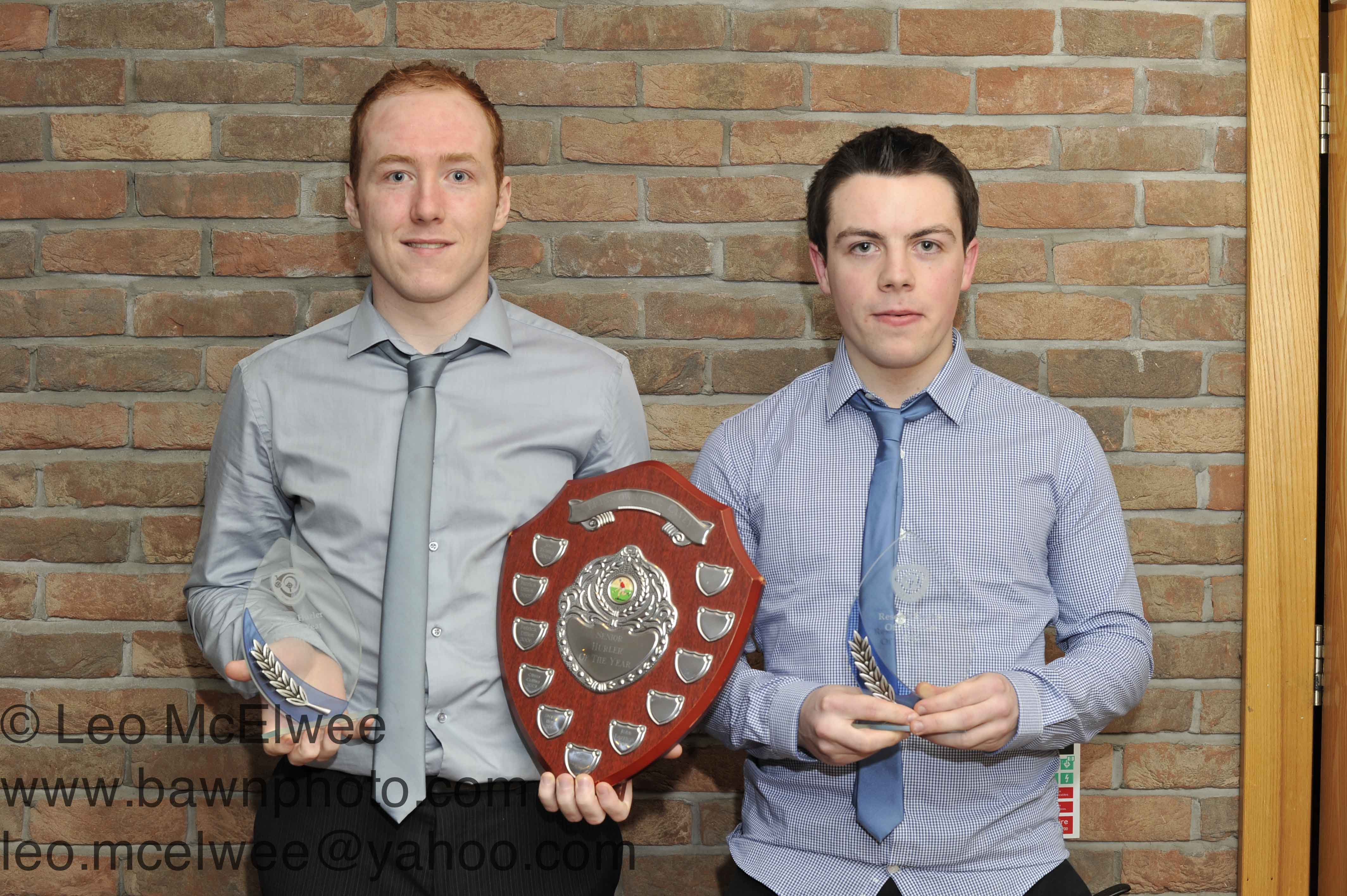 John Darragh (left)was presented with the Senior Hurler of the Year award for the second year in a row while Sean Toner was presented with the Intermediate Hurler of the Year award.
