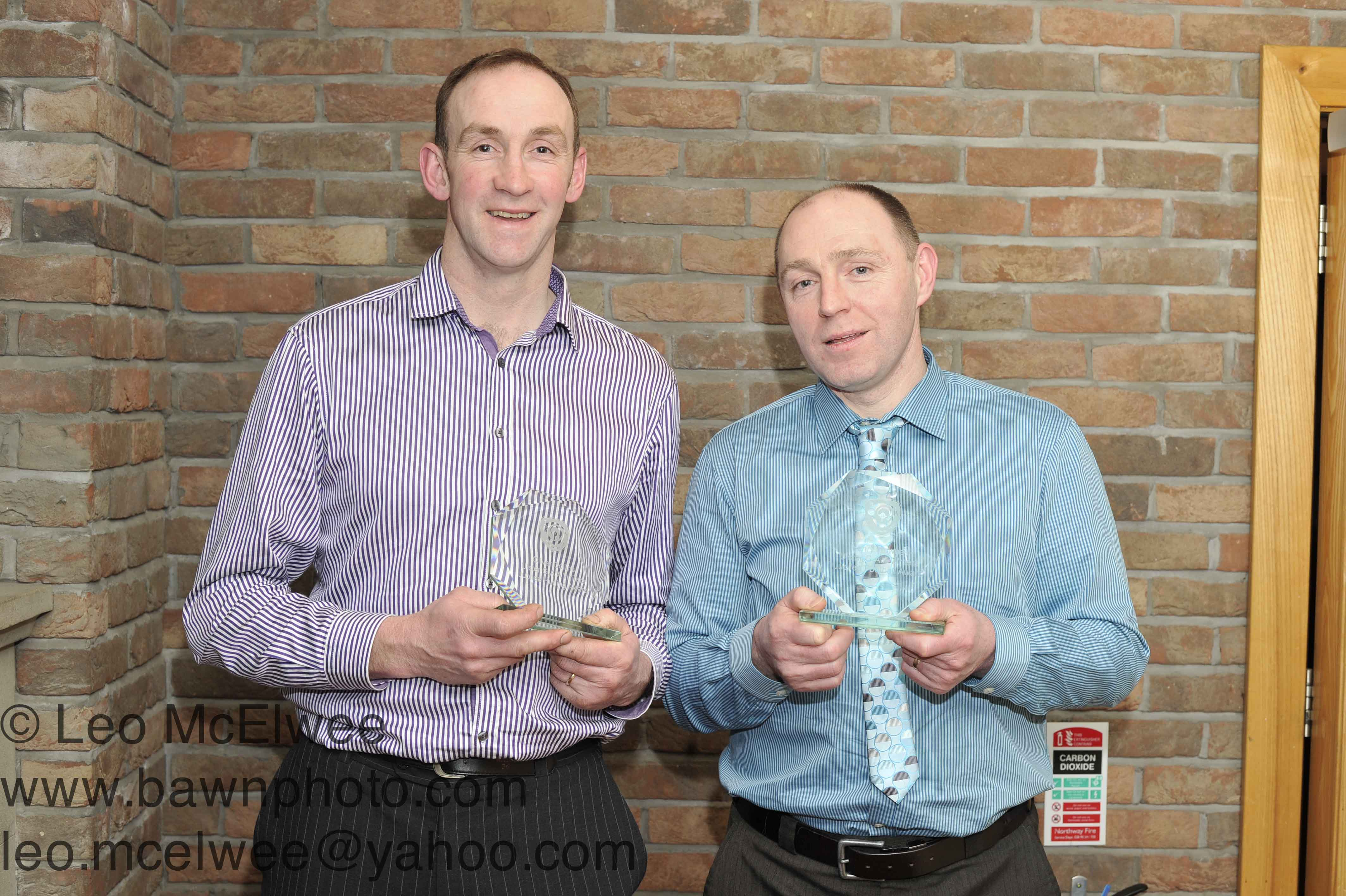 Ollie Collins and Henry Downey were presented with individual awards to celebrate the fact that they were named on the Ulster GAA Writters' Jubilee hurling and football teams respectively.